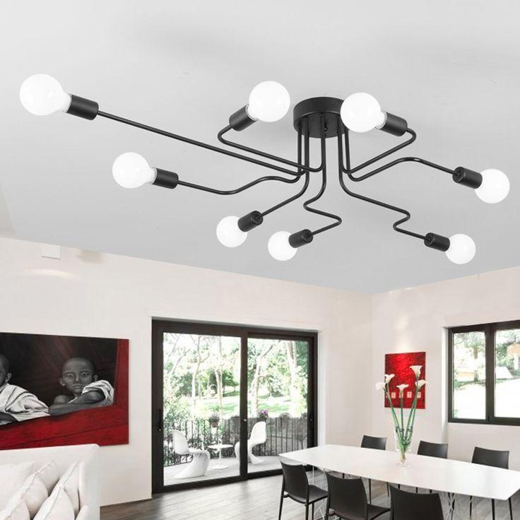 Luces de Techo de la vendimia Para El Hogar Iluminación Luminaria Múltiples Barra De Hierro Forjado Lámpara de Techo E27 Bombilla Lamparas De Techo Sala de estar