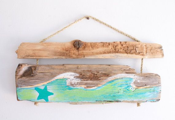 Beach Decor Ocean Wave Starfish Beach Sign Reclaimed Distressed Wood Beach Cottage Style Beach Baby Nursery Surf Baby Kid Room Beach Decor