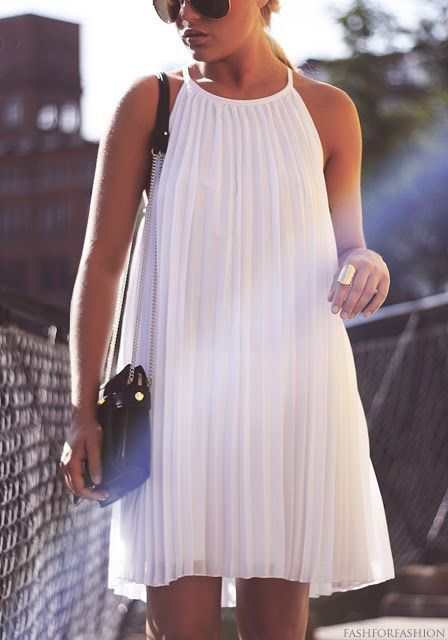 White pleated dress.