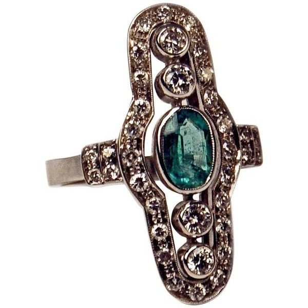 Preowned Art Deco Austrian Emerald Diamond Gold Dinner Ring ($3,800) ❤ liked on Polyvore featuring jewelry, rings, cluster rings, green, diamond rings, vintage emerald ring, art deco diamond rings, art deco emerald ring and vintage diamond rings