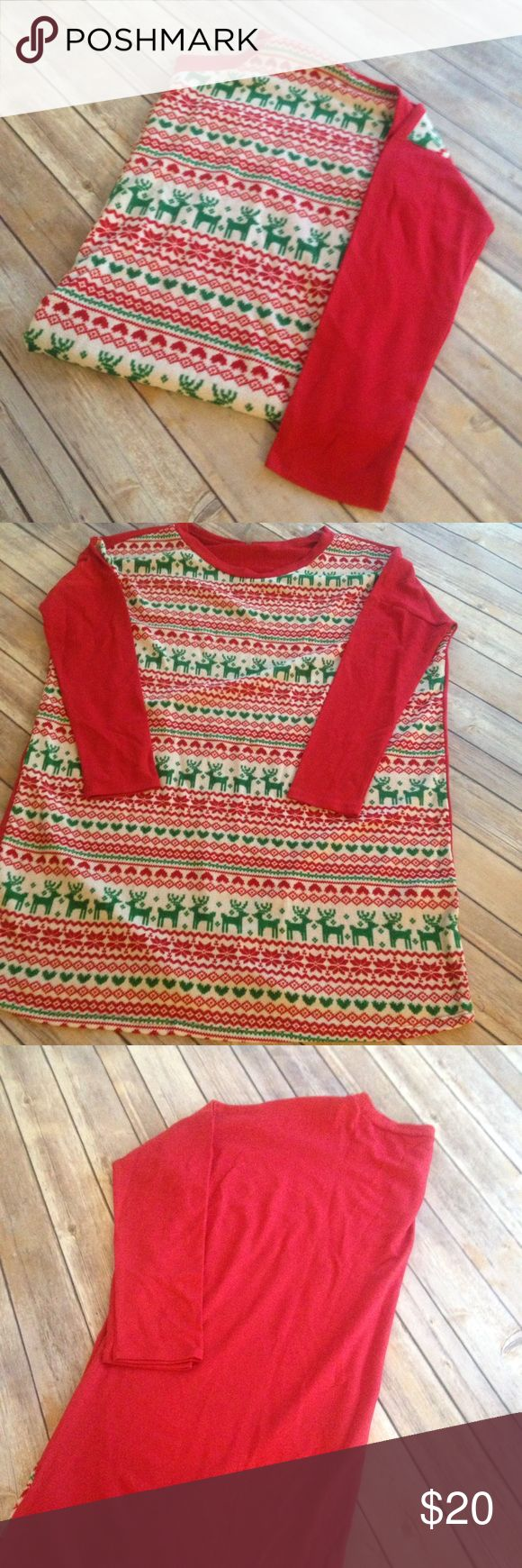 Red Lolly Holiday Reindeer Tunic Size Large Red Lolly Christmas Tunic with Reindeer. Size L. Cute Tunic with holiday print on front. Solid red arms and back. Never worn. NWOT. Red Lolly Tops Tunics