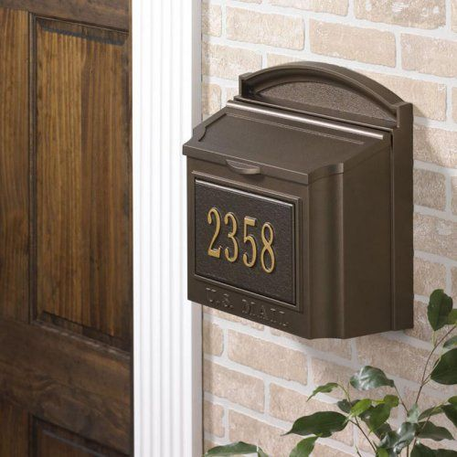 Whitehall Personalized Wall Mount Mailbox - Personalized plaques hold one line up to five - 3 characters.  About Whitehall Whitehall is the world's largest manufacturer of weathervanes,...