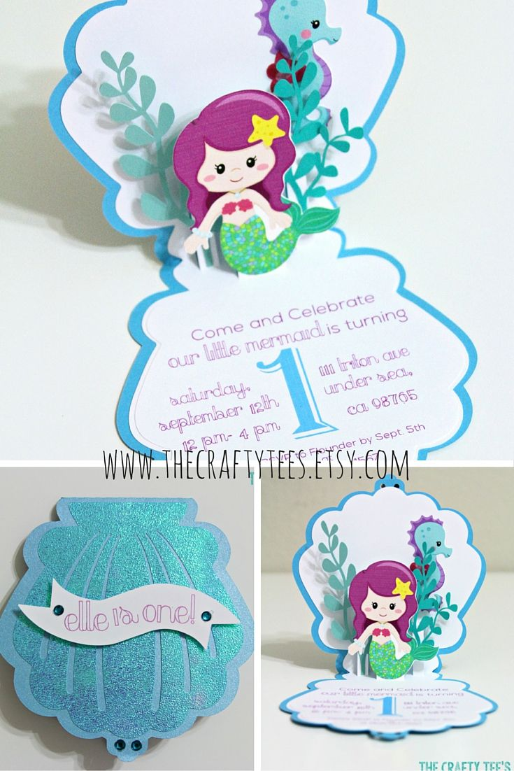 Mermaid Invitation - Mermaid Invitations - Pop-up Card - Birthday - Greeting Card - Thank You - Blank Card - Custom Order Avail. - 10/pack