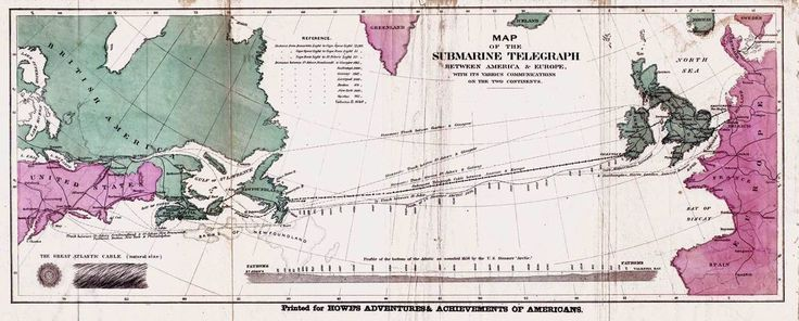 Map of the 1858 Atlantic submarine cable. This was the first somewhat successful attempt to connect the telegraph networks in the eastern and western hemispheres. This cable was not sturdy enough, however, and within a month ceased to work – but not before President James Buchanan and Queen Victoria could trade messages back and forth. A permanent cable was installed by 1866.