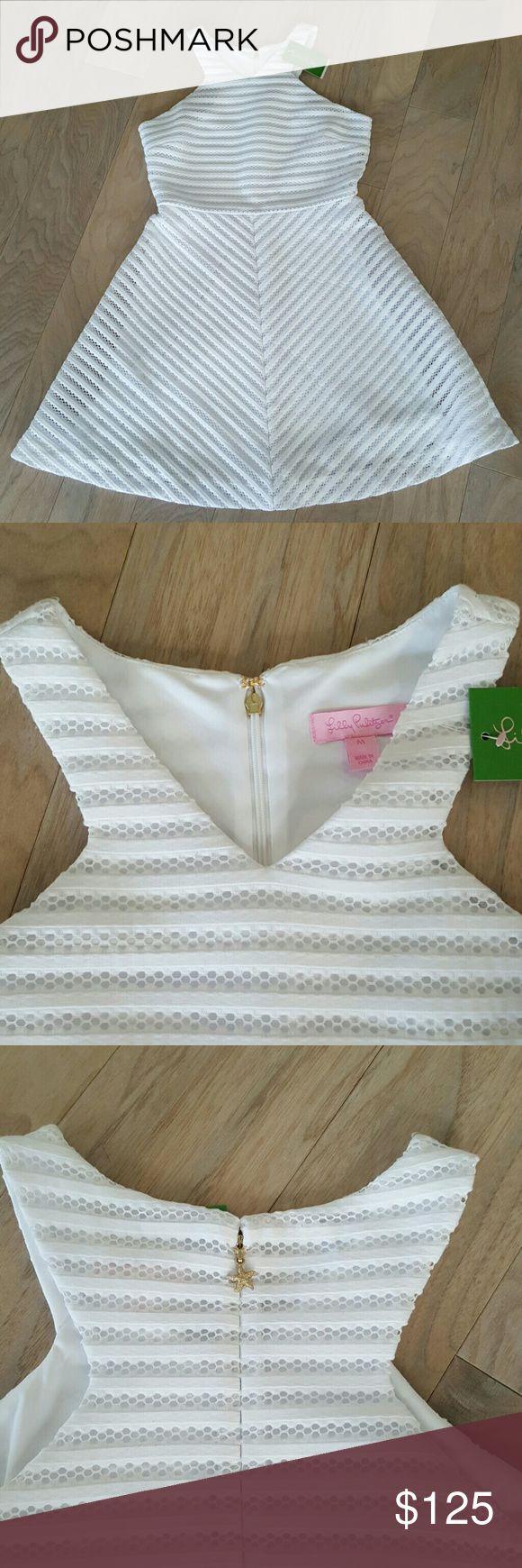 Lilly Pulitzer Megyn Dress Crochet Stripe Knit Megyn Dress. Style # 23674 Built in white slip.  Beautiful dress. Lilly Pulitzer Dresses Midi