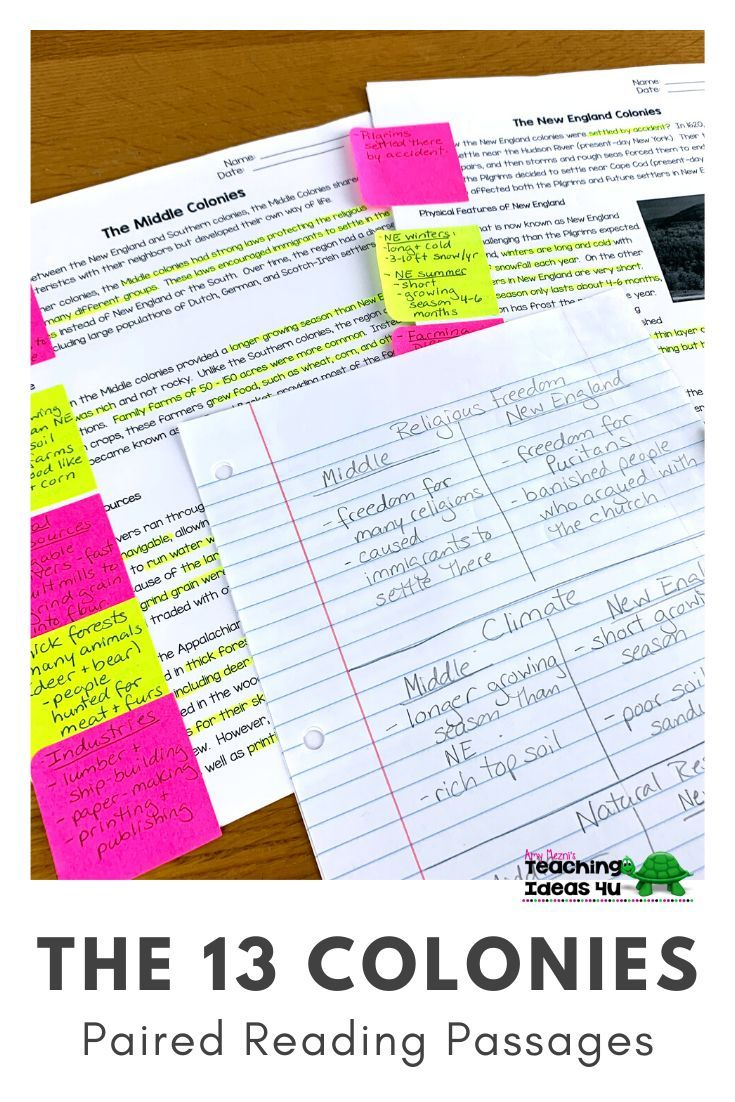 13 Colonies Paired Reading Passages Reading Comprehension Worksheets Explanatory Writing Paired Passages