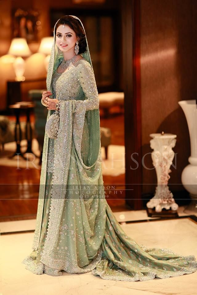 Beautiful! | mint green / pistachio walima or nikah Pakistani lehenga with silver embroidery | irfan ahson photography