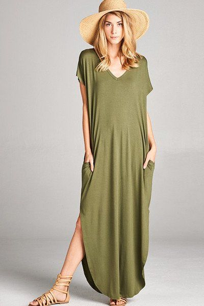 Abigail Olive T-Shirt Pocket Maxi Dress - Find the perfect outfit for any occasion at ShopLuckyDuck.com