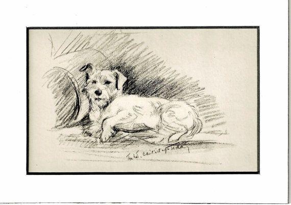 Antique Dog Print, MATTED Print, 1930s Terrier Lucy Dawson, 5x7 Mounted Print Puppy Print, black & white Wall Decor, Interior Design, B-5