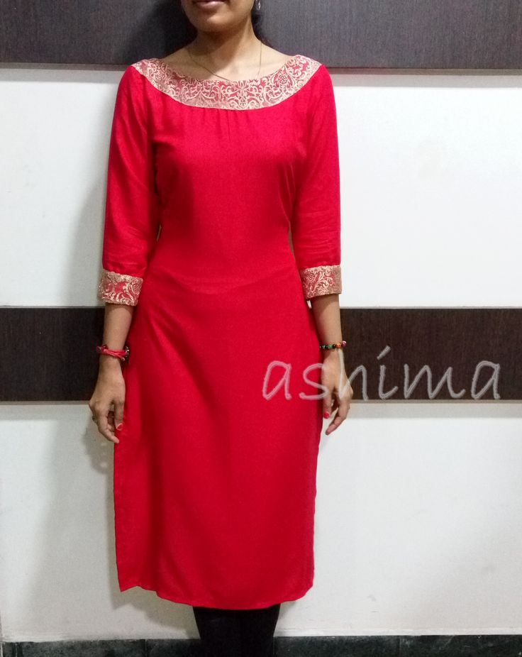 Code:1002162 -Rayon Cotton Kurta With Embroidered Net- Price INR:1250/-