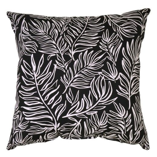 Square Outdoor Throw Pillow - Leaves Black - Project 62™ : Target