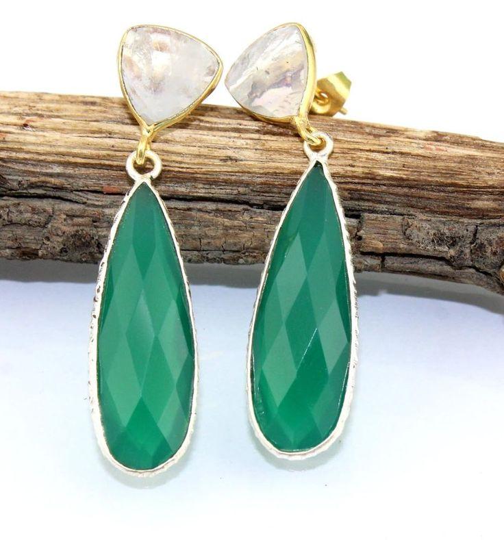 "H4578 Sale ! Rainbow Moonstone & Green Onyx Gold Plated Earrings Jewelry 1.9"" #Handmade #DropDangle"