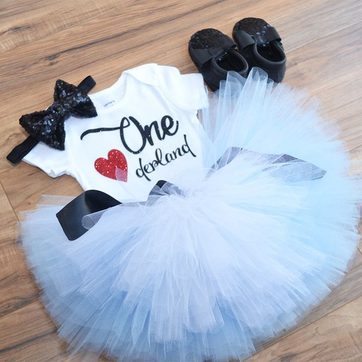 First Birthday Alice wonderland, Onederland Outfi, Light Blue Tutu, Black sequin bow headband. by GabyRobbinsDesigns on Etsy