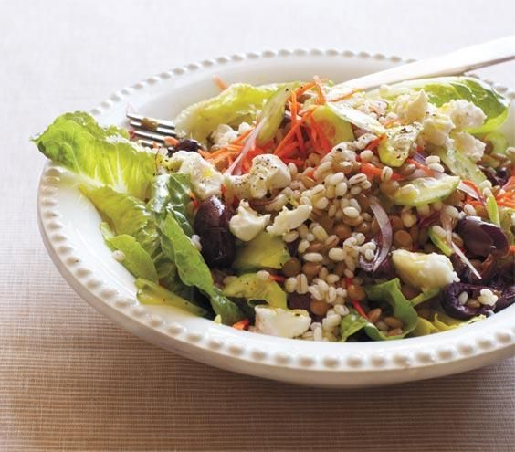 Barley and Lentil Salad With Goat Cheese   Full of fiber, protein, iron, and vitamin B, lentils are inexpensive and make a great meat substitute or side dish.