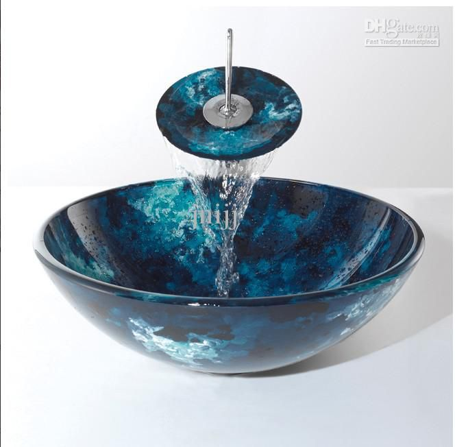 itm round bathroom bowl vanity waterfall loading faucet sink basin combo art image glass is tempered