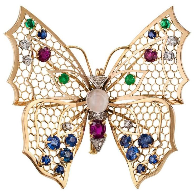 Butterfly Gold Gemstone Brooch | From a unique collection of vintage brooches at https://www.1stdibs.com/jewelry/brooches/brooches/