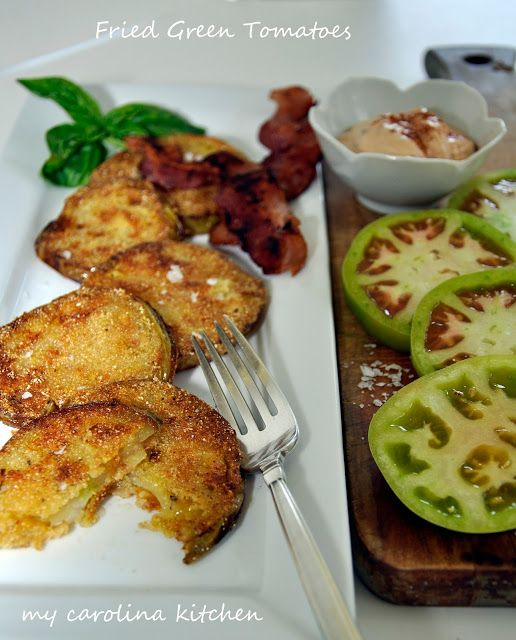 """Fried Green Tomatoes and Meakin's Famous Smoked Chipotles in Adobo Sauce """"Aioli"""" via My Carolina Kitchen"""