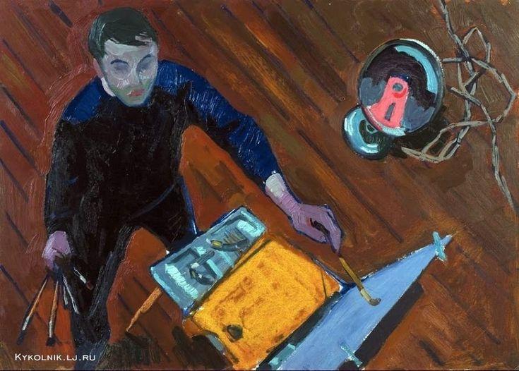 "Popkov Victor (USSR, 1932-1974) Self portrait ""On work"", 1959?  Попков Виктор Ефимович (Россия, 1932–1974) «За работой. Автопортрет» 1959 ?"