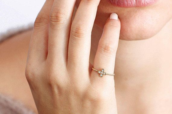 Cross diamond ring, 14K solid gold ring for women, twist ring, stacking ring, Mother's Day, delicate cross ring, gift for her, GR0274