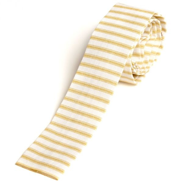 Yellow Hickory Stripe Duck Cloth Tie by Ryan