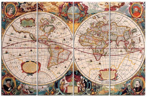 Typus Orbis Terrarum Ancient World Map Diptych Triptych Multi