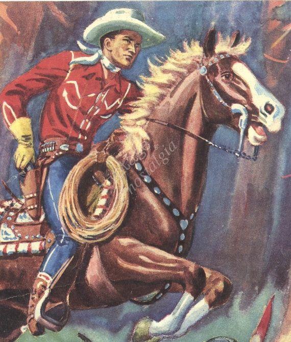 Vintage COWBOY print western decor wild west by theStoryOfVintage