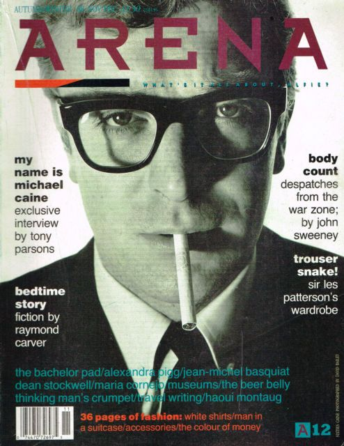Arena, 1988.   On the cover: Michael Caine   Art director: Neville Brody