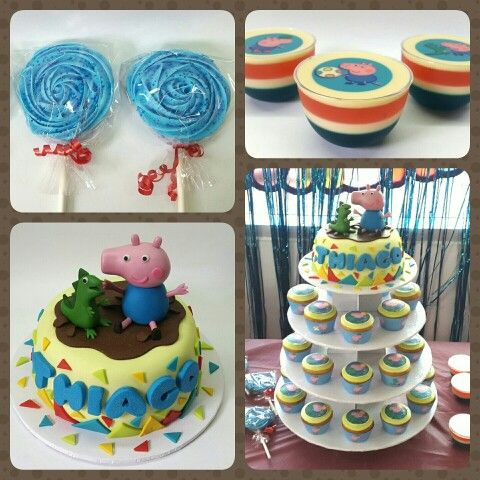 Combo George Pig #PrityCakes #fondantcakes #gellyshots #Merenguepops #cupcakes