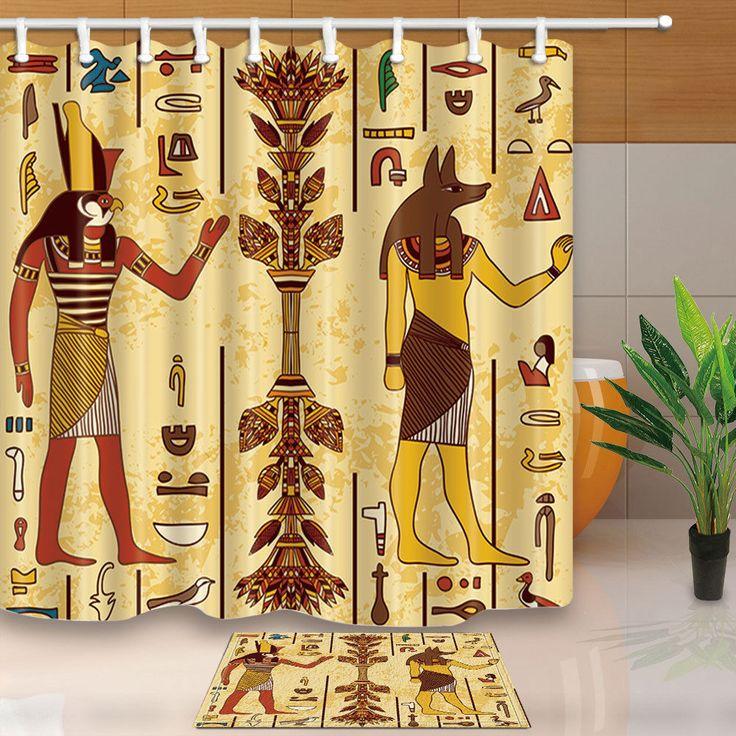 Egyptian Fabric Shower Curtain Set Egyptian Gods And Hieroglyphs Bath Curtain