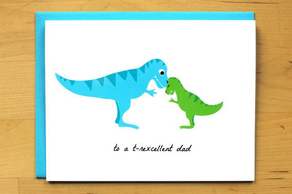 2a183103 T-rexcellent Dad - dinosaur Father's Day card - funny dad - cute t-rex -  love family - father's day - cute - nerdy card - blank card | For Kevin | Cute  t ...