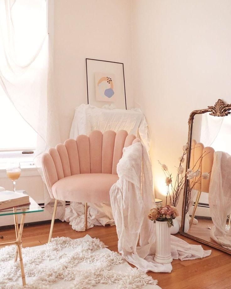 The List Issue 04 The Pink Chair You Need In Your Life Hello Lovely Living Pink Velvet Shell Feather C In 2020 Room Decor Bedroom Aesthetic Room Decor Home Decor