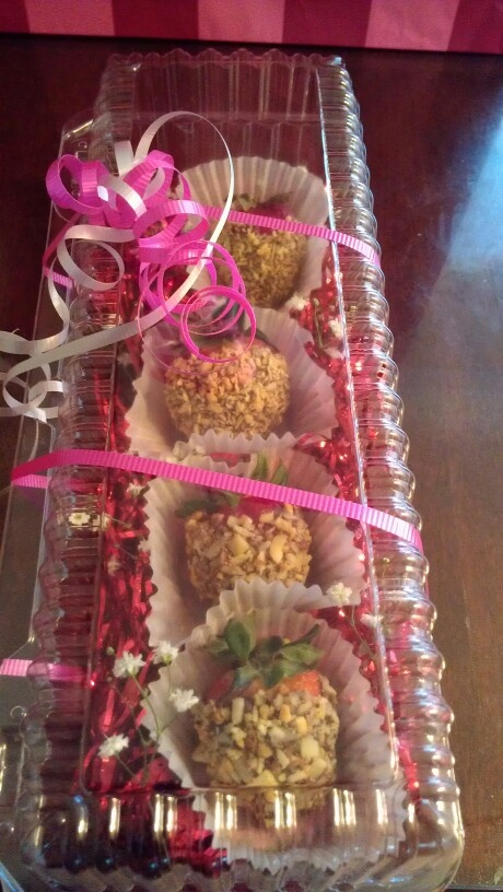 Mothers day creation, chocolate covered, decorated strawberries