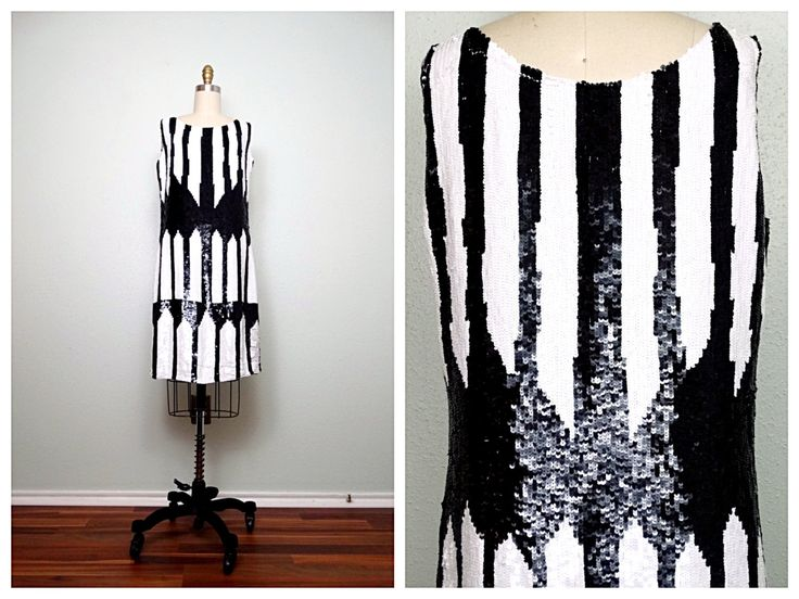 VTG Inspired Sequined Dress // Black and White Sequin Dress // Art Deco Striped Dress by braxae on Etsy