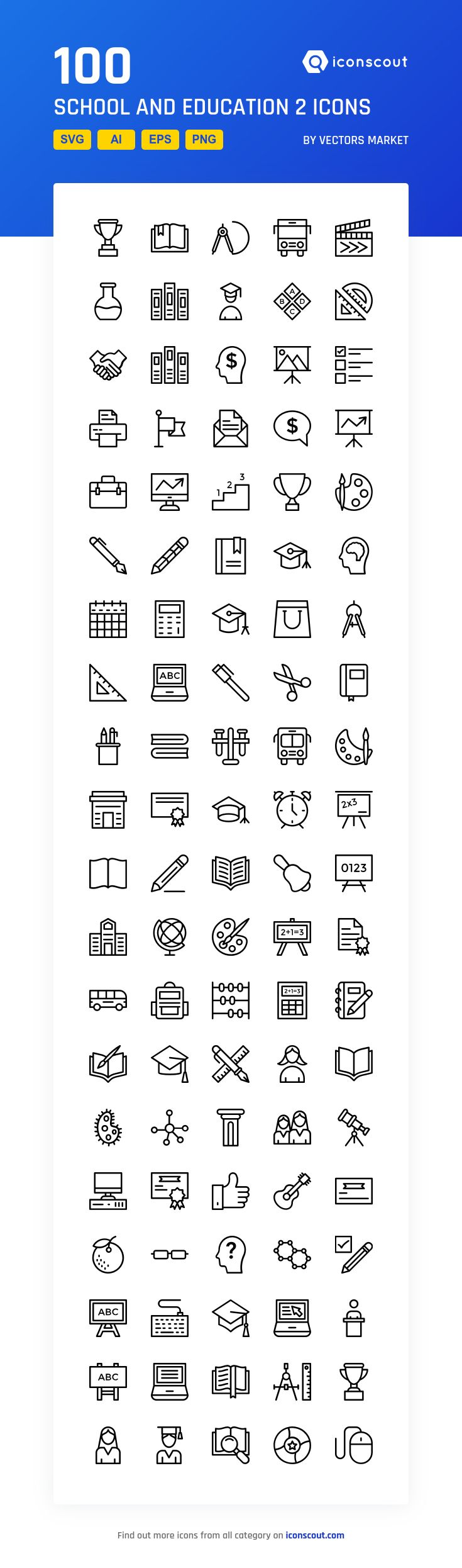 School And Education 2  Icon Pack - 100 Line Icons
