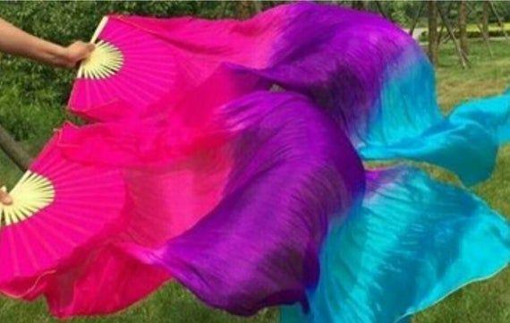 100/% Silk Bellydance Fan Veils  FREE CASE
