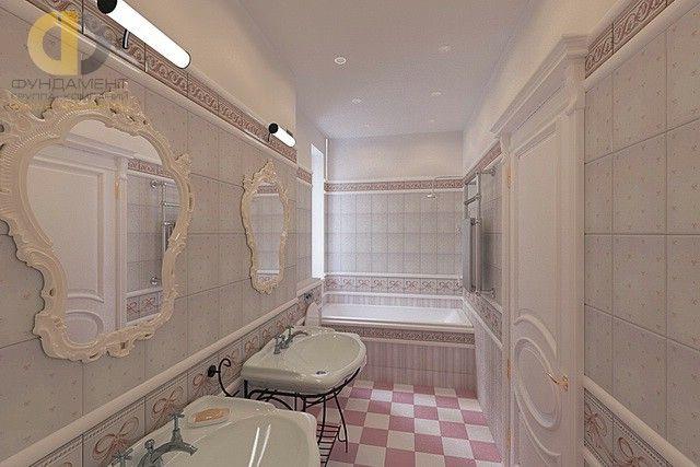 Светлая ванная в неоклассическом стиле. Фото интерьера