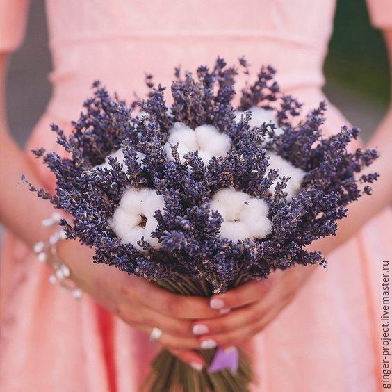 """Lavender bride's bouquet   Купить Букет с лавандой и хлопком """"Прованс"""" подарок девушке, свадебный букет - букет невесты с лавандой"""