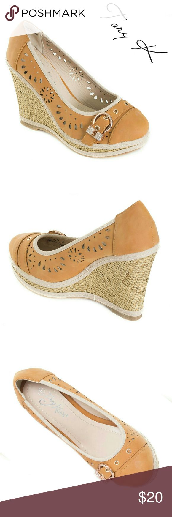 """Women Buckle Wedge Espadrilles, HW-1675, Camel Brand new Tory K perforated woman camel colored wedge espadrille sandals with a shiny belt-like buckle. 4"""" woven platform, these run a bit small. PU leather. A true statement in ladies shoes fashion! Size 9 measures 9.5 inches on the inside of the sole, all sizes are half an inch apart in length. Tory K  Shoes Wedges"""
