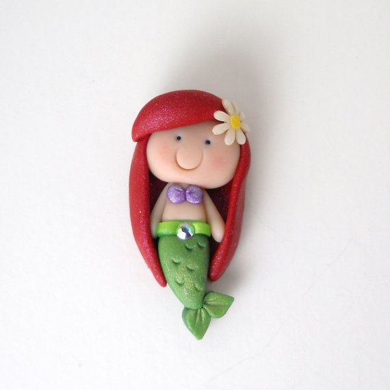Polymer Clay Mermaid Flat back bead for bows by LittleChirpDesigns, $4.00