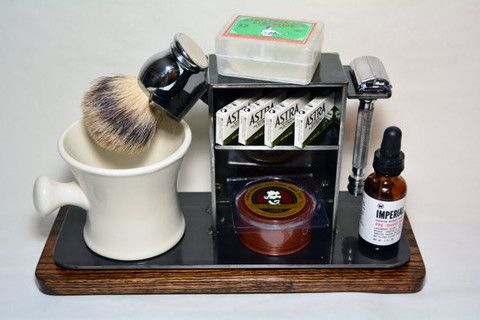 "Shaving Stand for Razor, Brush, Cup, and Accessories, 4"" base.   Shaving stand, DE razor, safety razor, dual edge razor, straight razor, badger brush, industrial, husband gifts, groomsman gifts, art of shaving."