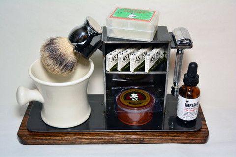 "Shaving Stand for Razor, Brush, Cup, and Accessories, 4"" base.   Shaving stand, DE razor, safety razor, dual edge razor, straight razor, badger brush, industrial, husband gifts, groomsman gifts, art of shaving."