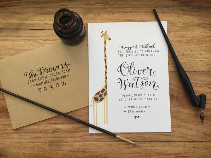 Hand-Painted + Hand-Lettered Baby Announcement by Brush & Nib Studio