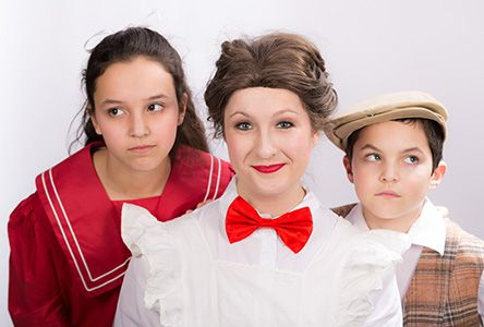 """The Yardley Players is proud to present the """"Mary Poppins"""" musical on stage at Mercer County Community College's Kelsey Theatre April 16 to May 1, 2016. Pictured Mary Poppins (Elizabeth Rzasa) has her work cut out for her with Jane (Makenna Katz) and Michael (Dylan Katz)."""