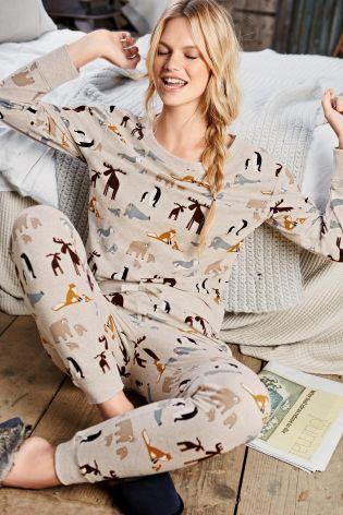 Oatmeal Printed Animal Cosy Pyjamas