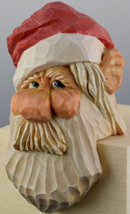 Santa wood carving christmas caricature elf shelf by