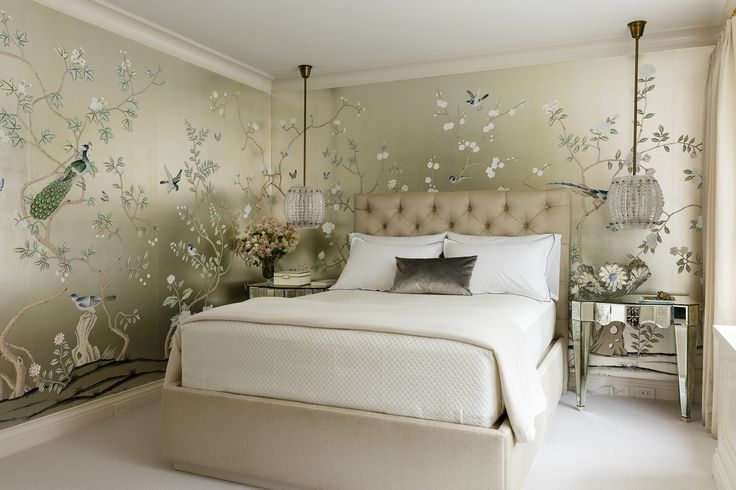 Lichten Craig Architects - Bedroom featuring gold wallpaper with printed peacocks in Central Park South Apartment.