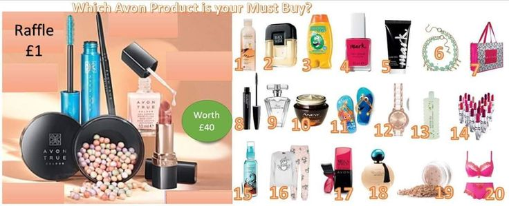 Have the chance to win £40 worth of Avon products for just £1!!! Like and comment below your must have item from the numbered list and this will be your raffle number!..Good Luck 💋 First come first served - if more numbers are requested I will add 👍 I only deliver in the stockport area! Winner to be announced on my facebook page 29th June, Like/follow >>> https://www.facebook.com/BethHartleyy/ So you don't miss out! 🎉