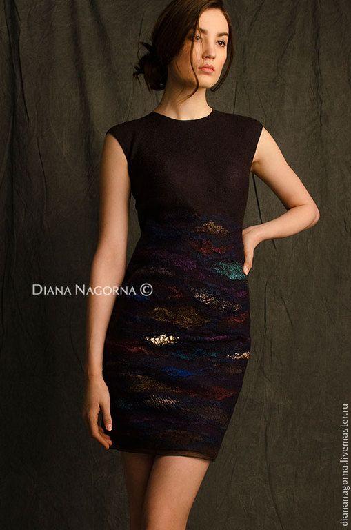 """Купить Платье из мериносовой шерсти и шелка """" Дикая Орхидея"""" - коричневый, абстрактный, скидка"""