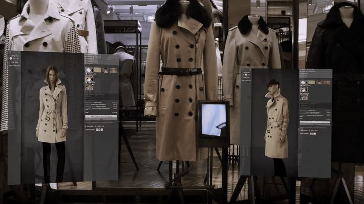 Burberry on Regent Street uses radio-frequency identification (RFID) for interactive mirrors that transfer into personalised screens.
