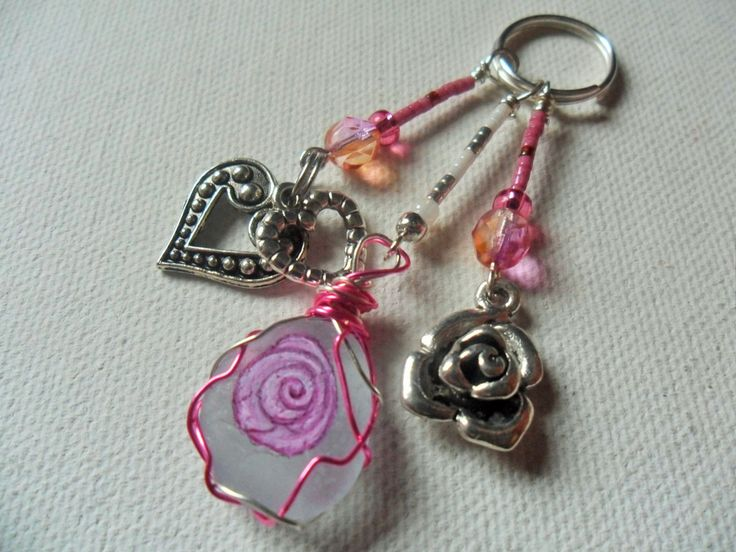 Pink rose and heart sea glass and bead hand painted bag charm - Keyring Zipper pull by ShePaintsSeaglass on Etsy